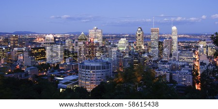 Montreal Downtown at Dusk - stock photo