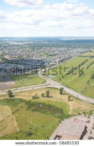 Montreal Highway. Aerial view. - stock photo