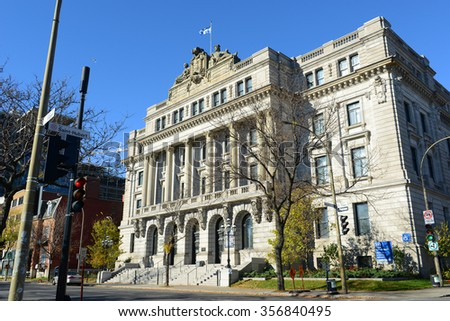 MONTREAL - NOV 2, 2012: BAnQ Vieux-Montreal is Ecole des hautes etudes commerciales on November 2nd, 2014 in Montreal, Quebec, Canada. Now this building is National Library and Archives of Quebec. - stock photo