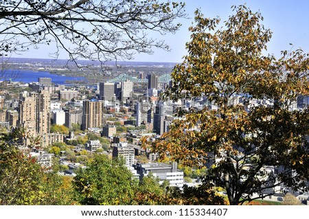 MONTREAL - OCTOBER 08: The view of the city from the Kondiaronk Belvedere Mount Royal on October 08, 2012 in Montreal. It is the largest city in the province of Quebec and the second city in Canada