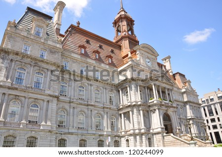 Montreal Old City Hall in downtown Montreal, Quebec, Canada - stock photo