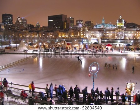 MONTREAL, QC - FEB 20: The Montreal High Lights Festival 2006, Bonsecours Skating Rink area in Montreal, QC, Canada - stock photo