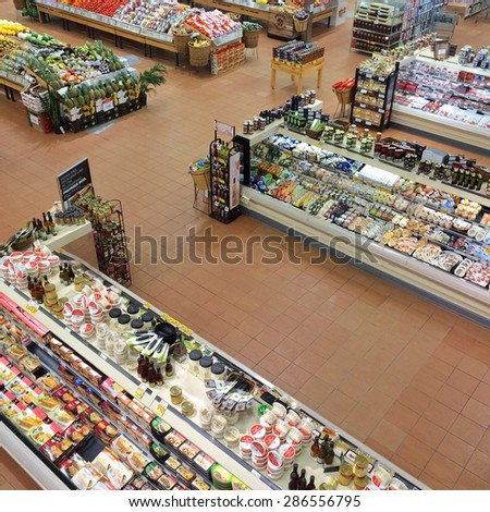 Montreal, Quebec, Canada - April 2, 2014: Loblaws supermarket in Montreal, Canada, offering a variety of products all year round. - stock photo