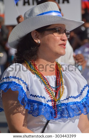 MONTREAL QUEBEC CANADA AUGUST 01 2015: Woman from Nicaragua dance Palo de Mayo English: Maypole is a type of Afro-Caribbean dance with sensual movements that forms part of the culture of Nicaragua