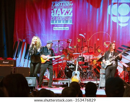 Montreal Quebec Canada - Diana Fuchs  female rock singer and her band in concert performance Festival International Jazz outdoor stage at night - stock photo
