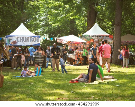 Montreal Quebec Canada 16 July 2016  Family summer picnic outdoor festival  enjoy to eat and relax together in a multi cultural food event for Latin culture  .