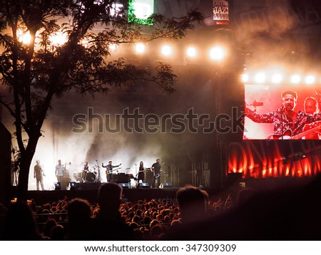 Montreal Quebec Canada - July 5 2014 - Shantel and Bocovina Orkestar from Germany live concert during the Jazz Festival night performance main stage - stock photo