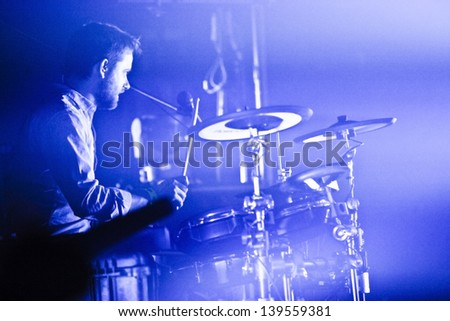MONTREAL, QUEBEC/CANADA MAY 9 2013: Draginette's drummer Joel Stouffer. in concert in Montreal at the National.