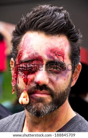 MONTREAL, QUEBEC, CANADA - OCTOBER 19 - Zombies at the 2013 Montreal Zombie Walk - 2013/10/19  - stock photo
