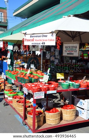 MONTREAL QUEBEC CANADA 09 16 2016: : People buy groceries at Jean-Talon Market is a farmer's market in Montreal. Located in the Little Italy district, the market is bordered by Jean-Talon Street