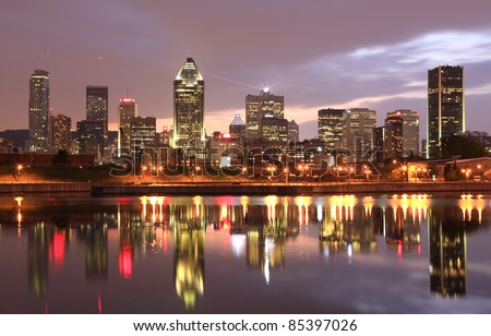 Montreal skyline at dusk, Quebec, Canada - stock photo