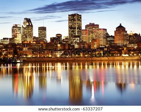 Montreal skyline at night - stock photo