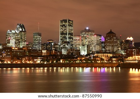 Montreal skyline at night - stock photo
