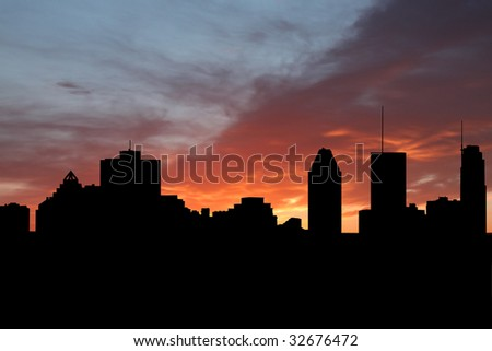 Montreal skyline at sunset with beautiful sky illustration