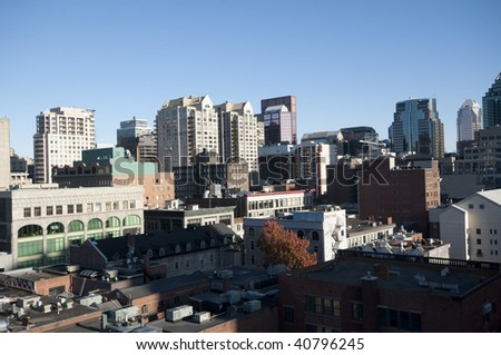 Montreal Skyline by night. Some office building - stock photo