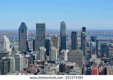Montreal Skyline in spring - stock photo