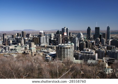 Montreal skyline on a clear spring day - stock photo