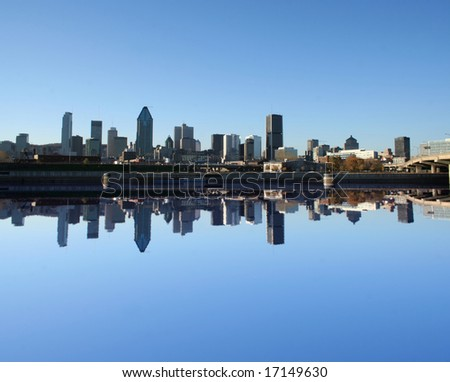 Montreal skyline reflected in water illustration - stock photo