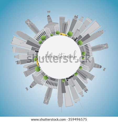 Montreal skyline with grey buildings, blue sky and copy space. Business travel and tourism concept with place for text. Image for presentation, banner, placard and web site.
