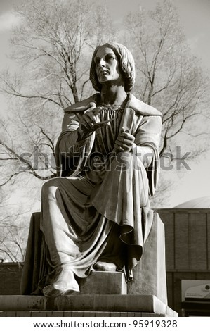 Montreal statue of Nicolaus Copernicus was a Renaissance astronomer and the first person to formulate a comprehensive heliocentric cosmology which displaced the Earth from the center of the universe