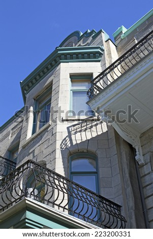 montreal typical house closeup - stock photo