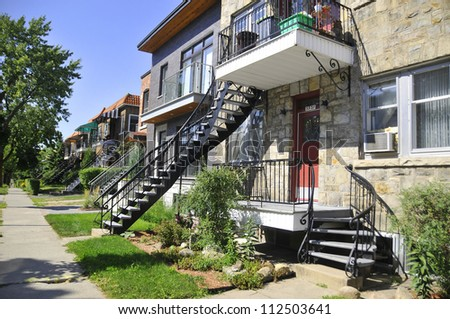 Montreals typical houses, Quebec, Canada - stock photo