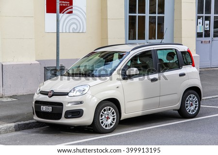 MONTREUX, SWITZERLAND - AUGUST 6, 2014: Motor car Fiat Panda in the city street. - stock photo