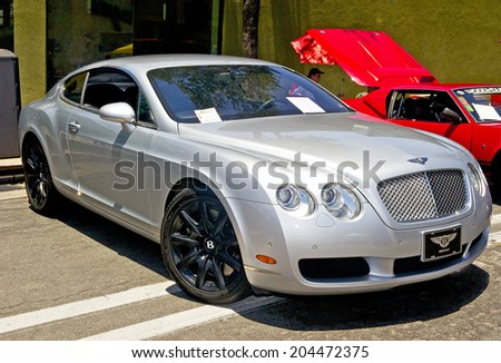 MONTROSE/CALIFORNIA - JULY 6, 2014: 2005 Bentley Continental GT Coupe at the Montrose Hot Rod and Classic Car Show. July 6, 2014 Montrose, California USA  - stock photo