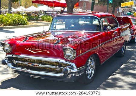 MONTROSE/CALIFORNIA - JULY 6, 2014: 1957 Chevy Bel Air owned by Tom Gascologne at the Montrose Hot Rod & Classic Car Show. July 6, 2014 Montrose, California USA - stock photo
