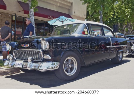 MONTROSE/CALIFORNIA - JULY 6, 2014: 1955 Chevy 210 on display at the Montrose Hot Rod & Classic Car Show. July 6, 2014 Montrose, California USA  - stock photo