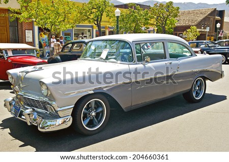 MONTROSE/CALIFORNIA - JULY 6, 2014: 1956 Chevy 210 owned by Pat Cruz at the Montrose Hot Rod & Classic Car Show. July 6, 2014 Montrose, California USA  - stock photo