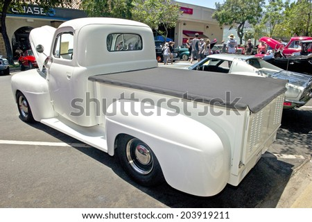 MONTROSE/CALIFORNIA - JULY 6, 2014: 1948 Ford F1 Pick Up owned by Roy from Burbank at the Montrose Hot Rod and Classic Car Show. July 6, 2014 Montrose, California USA - stock photo