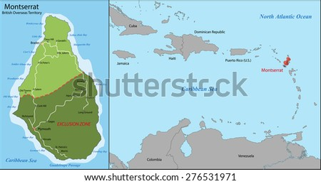 Montserrat is an island which is a British Overseas Territory in the Caribbean - stock photo