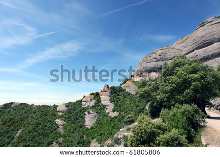 montserrat mountains, barcelona spain with clouds