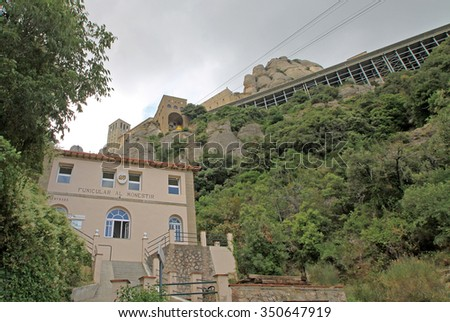 MONTSERRAT, SPAIN - AUGUST 28, 2012: The station of funicular santa Cova at the Benedictine abbey Santa Maria de Montserrat in Monistrol de Montserrat, Spain