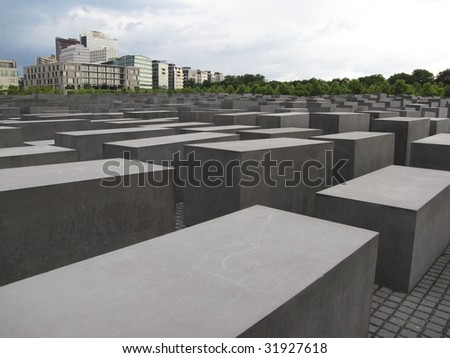 monument and new skyscrapers - stock photo