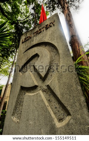 Monument and Tomb of Leon Trotsky, the Soviet Revolutionary who lived out his life in exile in Mexico until assassination by men sent by Stalin. - stock photo