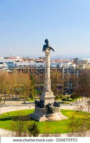 monument at Rotunda da Boavista, Porto, Portugal - stock photo