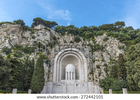 Monument aux Morts - at the foot of the Castle Hill, Nice, the War Memorial cut into the side of the hill, in honour of the 4,000 people of Nice who died in World War I