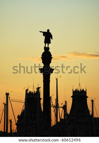 monument Christopher Columbus in barcelona, spain, catalonia