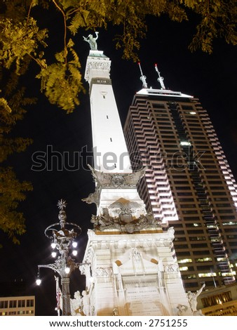 Monument circle in Indianapolis downtown at night