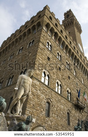 Monument in front of Palazzo Vecchio in Florence. Italy, Europe