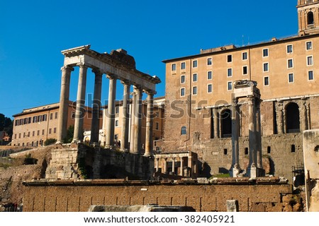 Monument inside the Imperial Forums in Rome,italy