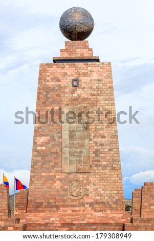 Monument Marks The Point Through Which The Equator Passes And Was Built To Commemorate The First Geodesic Mission Of The French Academy Of Sciences, Ecuador  - stock photo
