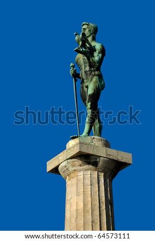 Monument of Belgrade winner opposite blue sky - stock photo