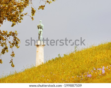 Monument of Belgrade winner with three pigeon / fortress Kalemegdan, Serbia - stock photo
