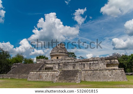 Monument of Chichen Itza snake pyramid Mexico Yucatan. El Caracol, Ancient Mayan observatory of Chichen Itza.