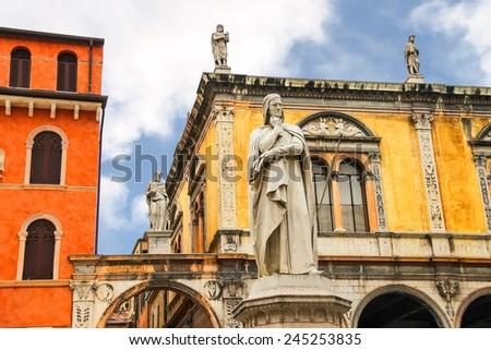 Monument of Dante Alighieri on the Piazza della Signoria in Verona, Italy - stock photo