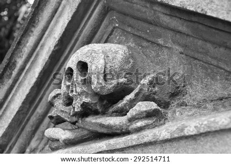 Monument of death in the cemetery - stock photo