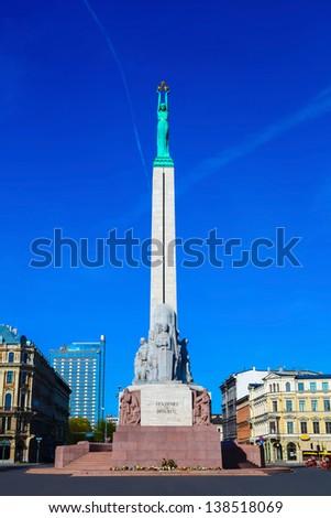 Monument of Freedom in center of Riga, Latvia - stock photo